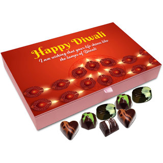 Chocholik Diwali Gift - I Wish Your Life Shines Like Candles On This Diwali Chocolate Box - 12pc