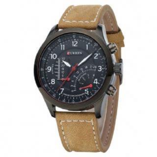 Curren Brown Leather Strap Black Analog Dial Denim Watch Meter Design By 7Sstar