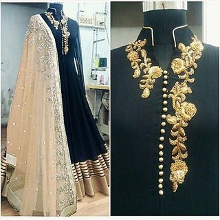 Divyang fashion Black Silk Semi Stitched Lehenga