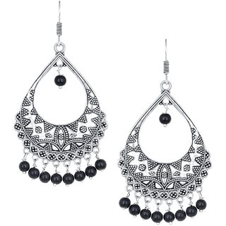 Spargz Ethnic Silver Oxidised Plated Artificial Jewellery Black Beads Fish Hook Dangle Earring For Women
