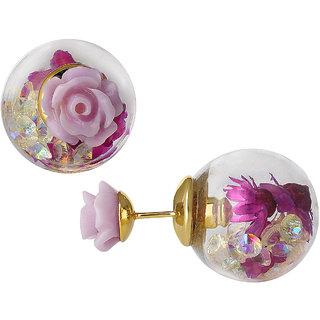 Spargz Beautiful Baby Purple Rose Flower Double Side Glass Ball Stud Earrings AIER 1118