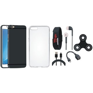 Oppo F7 Silicon Slim Fit Back Cover with Spinner, Silicon Back Cover, Digital Watch, Earphones, OTG Cable and USB Cable