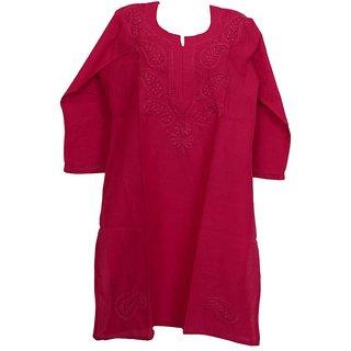 Red hand woven pure cotton Lucknow chikankari-kurti