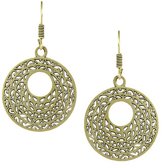 Spargz Ethnic Gold Oxidised Plated Artificial Jewellery Round Shape Filigree Fish Hook Dangle Earring For Women