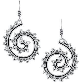 Spargz Ethnic Silver Oxidised Plated Artificial Jewellery Swirl Shaped Fish Hook Dangle Earring For Women