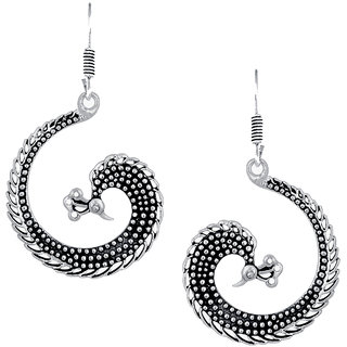 Spargz Ethnic Silver Oxidised Plated Artificial Jewellery Peacock Shaped Fish Hook Dangle Earring For Women