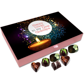Chocholik Diwali Gift - Happy Diwali To My Dear Grandpa Chocolate Box - 12pc