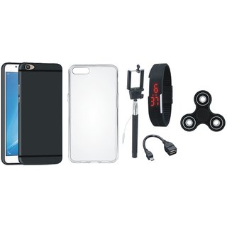 Oppo F7 Silicon Slim Fit Back Cover with Spinner, Silicon Back Cover, Selfie Stick, Digtal Watch and OTG Cable