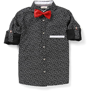 Black White Printed Shirt With Contrast White Trims And Roll Up Sleeve And Bow With White Buttons