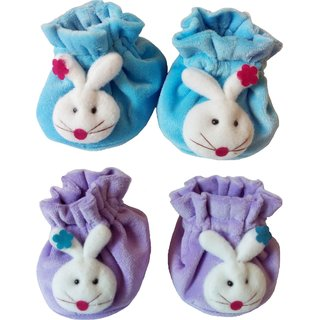 Kerokid Dark Red  Blue Checks face Booties Baby Care Combo Set