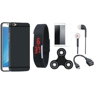 Oppo F7 Silicon Anti Slip Back Cover with Free Spinner, Digital LED Watch, Tempered Glass, Earphones and OTG Cable