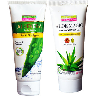 Dry Skin Care- Pure aloe vera gel with almond- Face wash ,Skin Gel