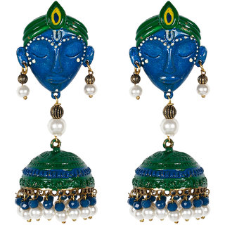 Jewels Gehna Antique Party Wear Simple Latest Multi Krishna Jhumki Set For Women  Girls