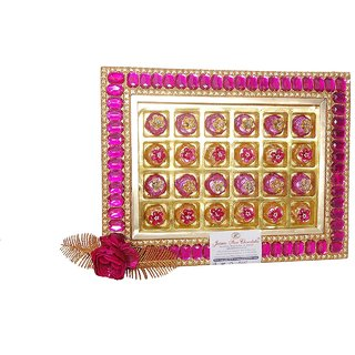 Jainco Stone Tray 2 Type of Chocolate Gift Pack Pink and Golden Colour(24 Pieces)