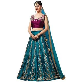 Aika Tapeta Silk Embroidery Lehenga Choli For Women ( Sky BluePurpleFree Size)-L001-PHILLURI-PURPLE