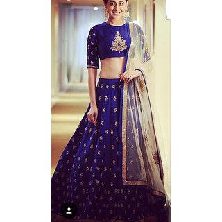 Aika Embroidered Banglori Fabric Lehenga Choli For Women (Blue)-LAVM2101