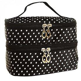 Aeoss  Aeoss Fashion Double-deck Travel Toiletry Beauty Cosmetic Bag Makeup Case Organizer Zipper Holder Handbag (BLACK