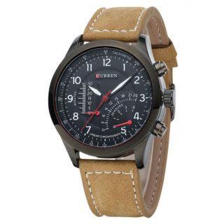 c2989be011a Kayra Curren Brown Leather Strap Black Analog Dial Denim Watch Meter Design  By 7Sstar