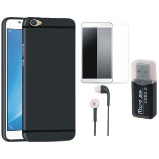 Oppo A71 Silicon Anti Slip Back Cover with Memory Card Reader, Tempered Glass and Earphones