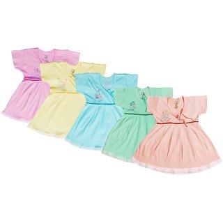 Jo Kids Wear baby girl Multi Color frock Set 4016 (3-6 months) Set Of 5