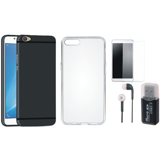 Oppo A71 Silicon Anti Slip Back Cover with Memory Card Reader, Silicon Back Cover, Earphones and Tempered Glass