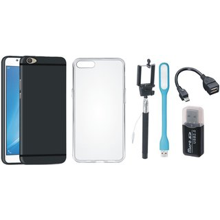 Oppo A71 Silicon Anti Slip Back Cover with Memory Card Reader, Silicon Back Cover, Selfie Stick, LED Light and OTG Cable