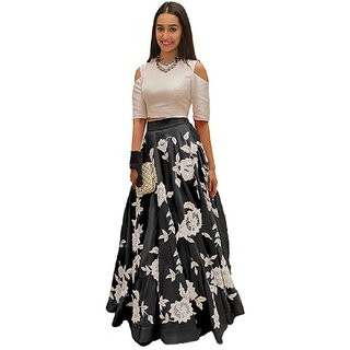Aika Benglori Silk Embroidery Lehenga Choli For Women ( BlackWhiteFree Size)-LAHF2188