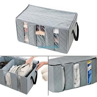 3 Part Fold able Clothes Organiser Folding Storage Box (Assorted Color)