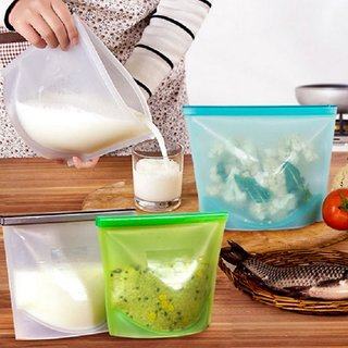 kywalk Reusable Silicone Vacuum Food Zip Sealed Storage Container Refrigerator Bag
