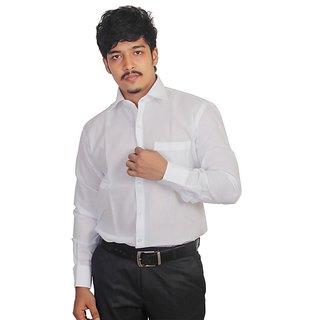 Grahakji Men's White Regular Fit Formal Poly-Cotton Shirt