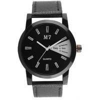 M7 Round Dial Black Leather Strap Quartz Watch For Men