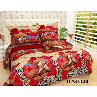 Angela Multicolor 3D 3D Printed Polyester Double Bedsheet With 2 Pillow