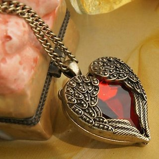 Angel Wings Red Gem Heart Pendant Vintage Bronze Long Chain Necklace Jewelry