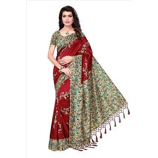 140590b97 Buy Mrinalika Fashion Maroon Mysore silk Printed Saree with Blouse ...