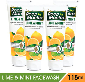 Roop Mantra Lime  Mint Face Wash -115 ml (Pack of 4)