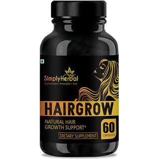 Simply Herbal Natural Extracts For Hair Growth , Premature Baldness, Hair Fall Control  Dandruff - 60Caps
