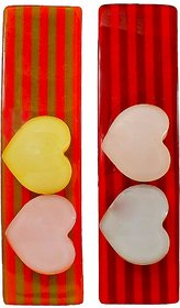 Maayra Kids Girls Tic Tac Clips Hearts in Multicolour for Dailywear Pack of 2