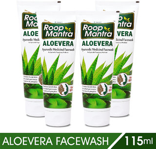 Roop Mantra Aloe Vera Face Wash -115 ml (Pack of 4)