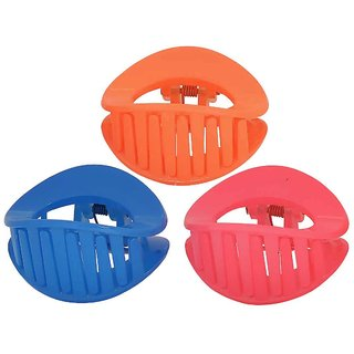Maayra Women Girls Hair Clutchers Plain in Pink Blue Orange for Dailywear Pack of 3