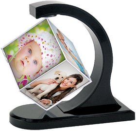 Shalibhadra Rotating Photo Frame 360 Degree Magical Magnetic Floating Photo Cube Frame For Home  For Office Desk  Home