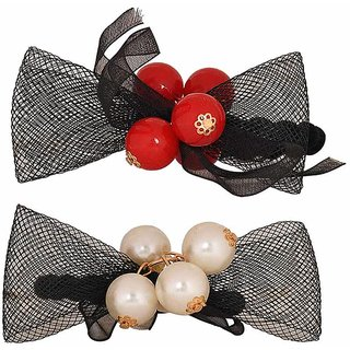 Maayra Women Girls Rubber Bands Bow in Black Red White for Dailywear Pack of 2