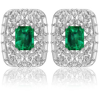 Joal Solitaire Collection Green 925 Sterling Silver Cubic Zirconia Earrings For Women