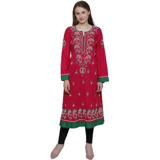 GOHANDICRAFT Women's Candy-Pink Lucknawi Chikan Cambric Cotton A-Line Kurti (Size- XL)