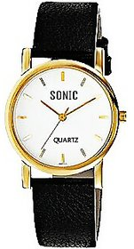 Sonic White Dial And Black Strap Men Watch