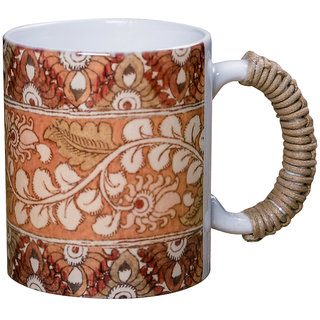 Kalamkari Design Multicolor Opaque Stoneware  Dishwasher Safe Coffee Mugs With Cotton Chord Handle