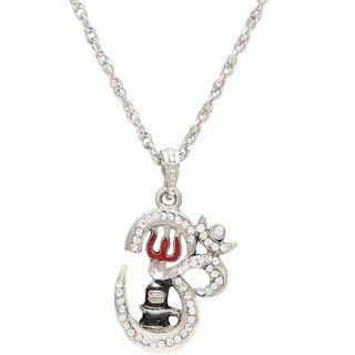 Memoir Brass Antique Slver Om Trishul Shivling  chain pendant necklace Mahadev Shiv temple jewellery