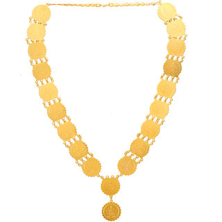 Memoir Gold Brass All laxmi engraved coins Ethnic Traditional Temple jewellery necklace rani haar  jewellery women
