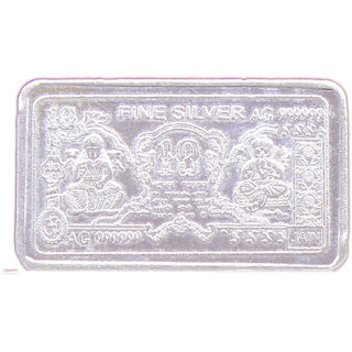 GOH Silver Plated Ganesh laxmi Diwali Coin Bar for puja