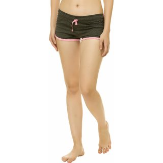 KOTTY Solid Cotton Shorts For Women