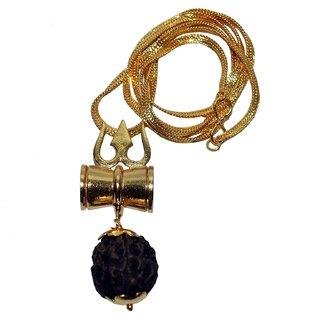 SAHAYA Rudraksha Trishul Damru Locket Pendent Shiv Shakti Kawach Yantra Locket with gold plated chain